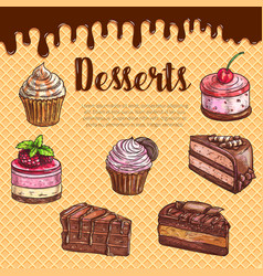 Cake dessert menu poster with chocolate cupcake vector