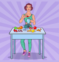 pop art woman making smoothie with fresh fruits vector image