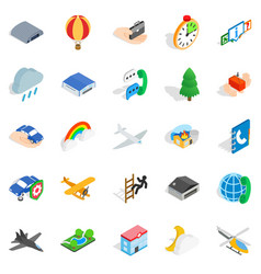 Aviation icons set isometric style vector