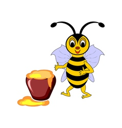 A funny cartoon bee with a pot of honey vector