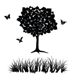 Tree and grass vector