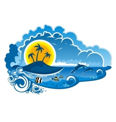 Tropical island paradise vector