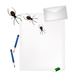 Pencil lying on blank page with evil spiders vector