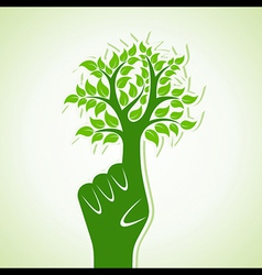 Finger make abstract tree design vector