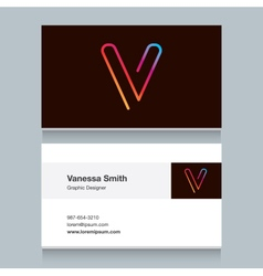 Business card letter v vector
