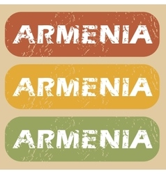 Vintage armenia stamp set vector