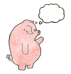 Cartoon fat pig with thought bubble vector