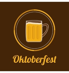 Oktoberfest beer glass mug with foam cap froth vector