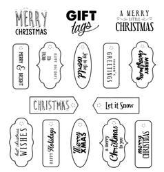 Calligraphic Christmas Gift Tags in Vintage Style vector image