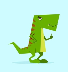 Green dino in action 02 vector