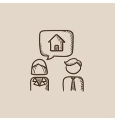 Couple dreaming about house sketch icon vector image