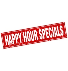 Happy hour specials red square grunge stamp on vector