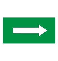 Arrow sign white icon in green rectangle vector