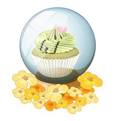 A crystal ball with a cupcake vector
