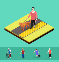 blind people paving background vector image vector image