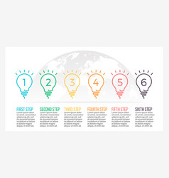 Business infographics timeline with 6 light bulbs vector
