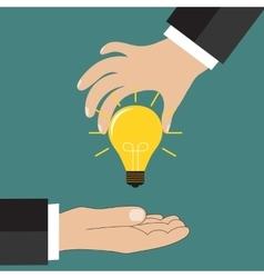 Cartoon businessman hand holding idea light bulb vector image