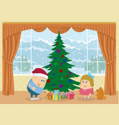 Children finding gifts under fir tree vector