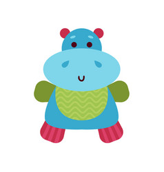 cute cartoon hippo animal toy colorful vector image