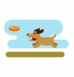 Dog playing with frisbee vector