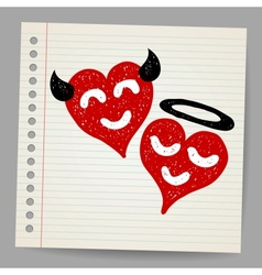 Doodle Angel and Devil hearts vector image