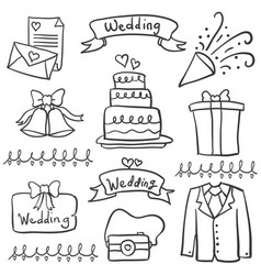 Doodle of wedding hand draw style vector
