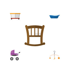 Flat child set of playground stroller bathtub vector