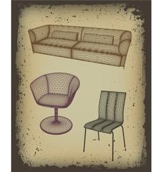 Furniture set for design in grunge frame vector image vector image