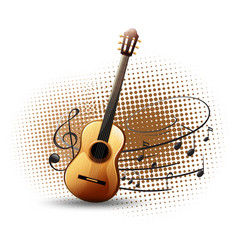 Guitar and musical notes in background vector