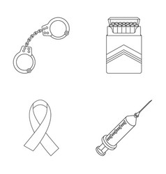 Handcuffs cigarettes aids tape syringe drugs vector