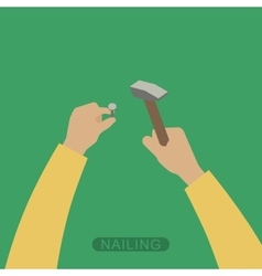 Hands with hammer vector image vector image
