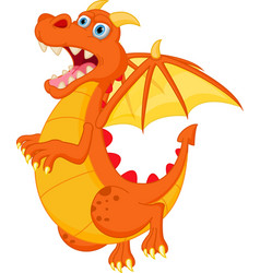 happy red dragon cartoon vector image