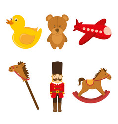 Kids toys collection soldier teddy airplane duck vector