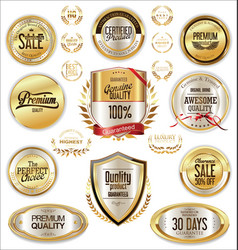 luxury quality golden badge retro collection 4 vector image vector image