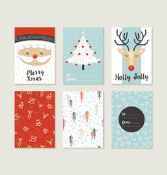 Merry christmas card set pattern retro cute santa vector image vector image