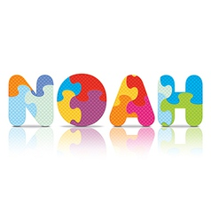 Noah written with alphabet puzzle vector