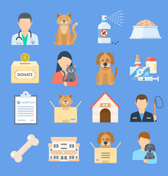 Pets shelter icon set vector
