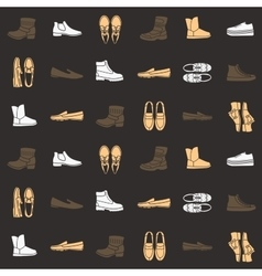 Seamless pattern with flat icons of mens shoes vector