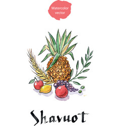 Shavuot holiday symbols vector