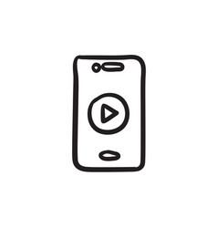 Smartphone sketch icon vector