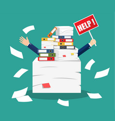 stressed businessman under pile of office papers vector image vector image