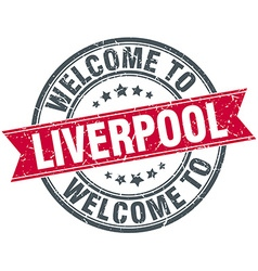 Welcome to liverpool red round vintage stamp vector