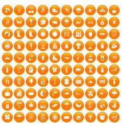 100 landscape icons set orange vector