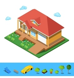 Isometric rural cottege building house vector