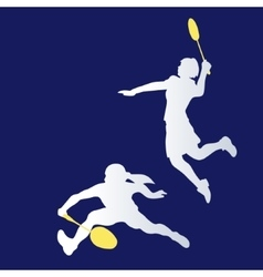 Womens doubles badminton players color vector