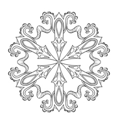 Zentangle snow flake mandala for adult coloring vector
