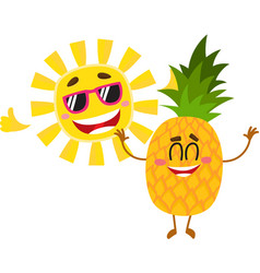 Funny pineapple and sun characters enjoying summer vector