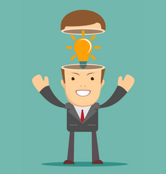 a caucasian businessman has a bright idea vector image