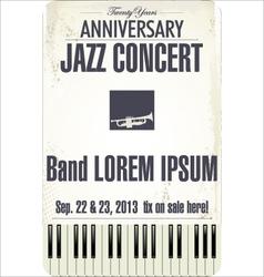 Anniversary Jazz concert poster vector image
