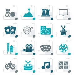 Stylized entertainment objects icons vector
